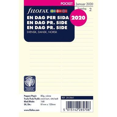 Kalendersats 2020 Filofax Pocket Dagbok Dag/Sida S/D/N 1