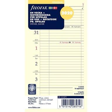 Kalendersats 2020 Filofax Personal Dagbok Vecka/Sida notes S/D/N