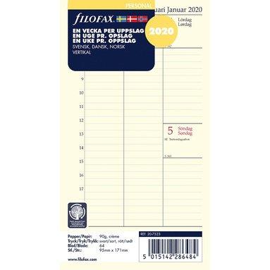 Kalendersats 2020 Filofax Personal Dagbok Vecka/Uppslag vert S/D/N 1