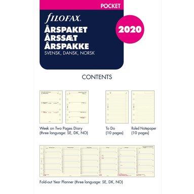 Årspaket 2020 Filofax Pocket Vecka/Uppslag S/D/N