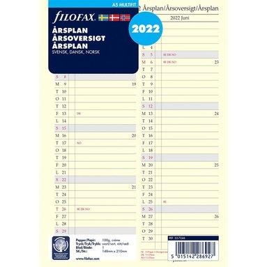 Kalenderdel 2022 Filofax A5 årsplan S/D/N 1