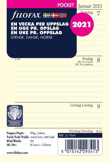 Kalendersats 2021 Filofax Pocket Dagbok VpU S/D/N