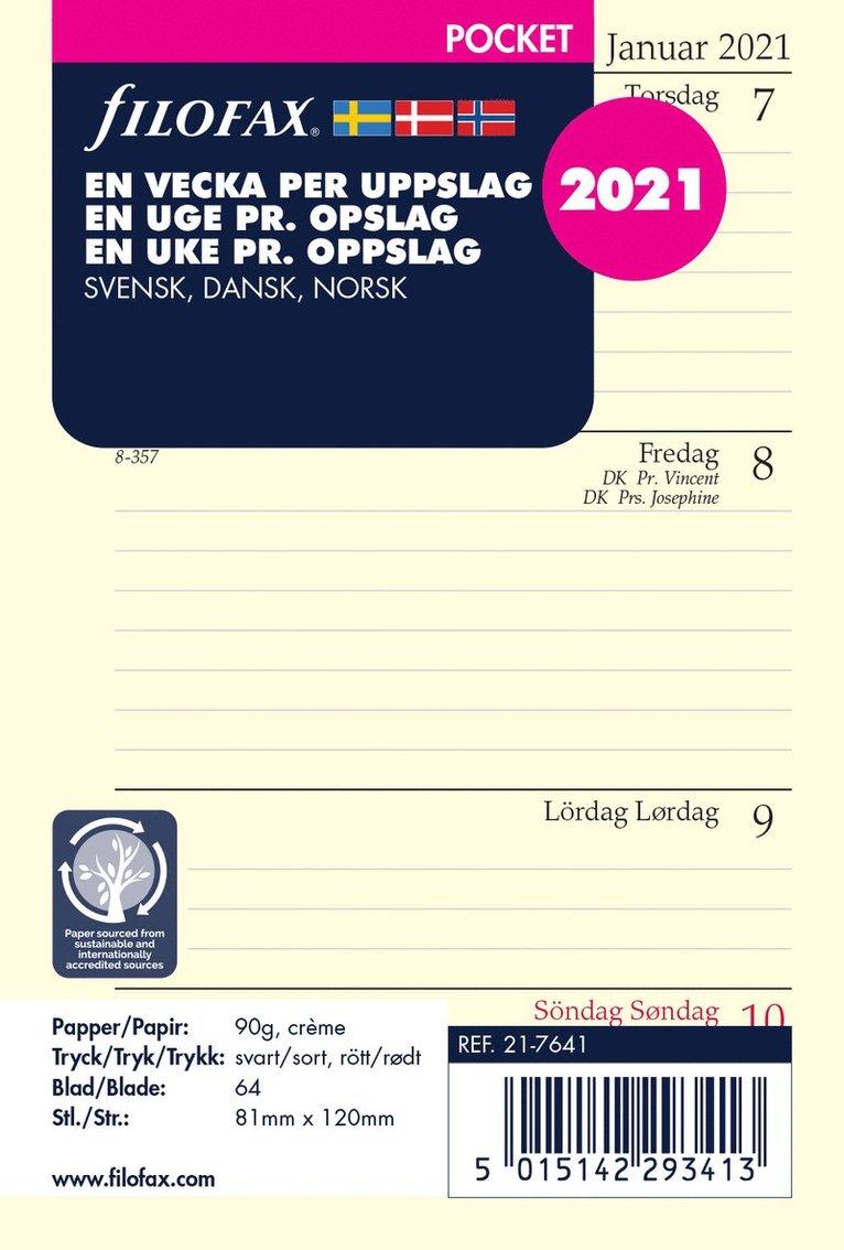 Kalendersats 2021 Filofax Pocket Dagbok VpU S/D/N 1