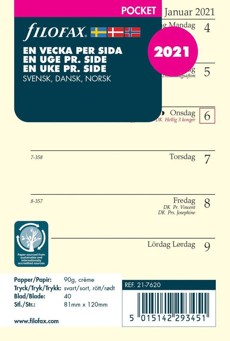Kalendersats 2021 Filofax Pocket Dagbok VpS S/D/N 1