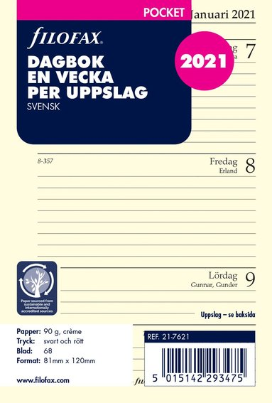 Kalendersats 2021 Filofax Pocket Dagbok VpU SE
