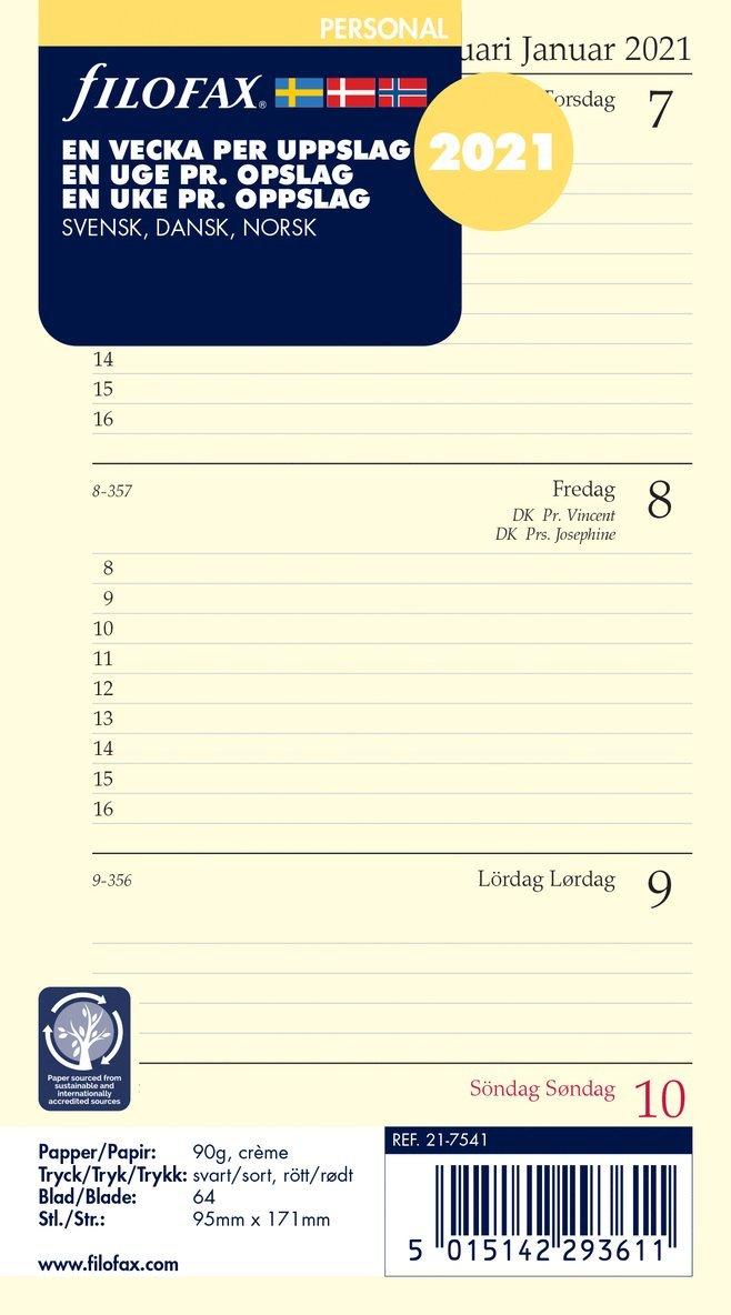 Kalendersats 2021 Filofax Personal Dagbok VpU S/D/N  1