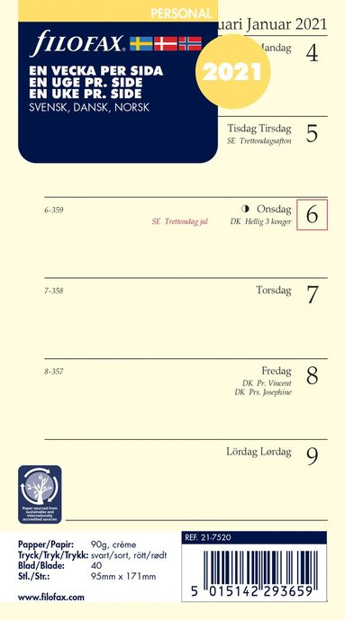 Kalendersats 2021 Filofax Personal Dagbok VpS S/D/N