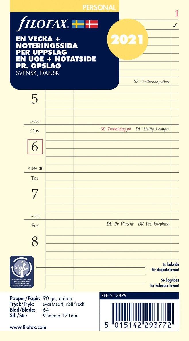 Kalendersats 2021 Filofax Personal Dagbok VpS notes S/D/N 1