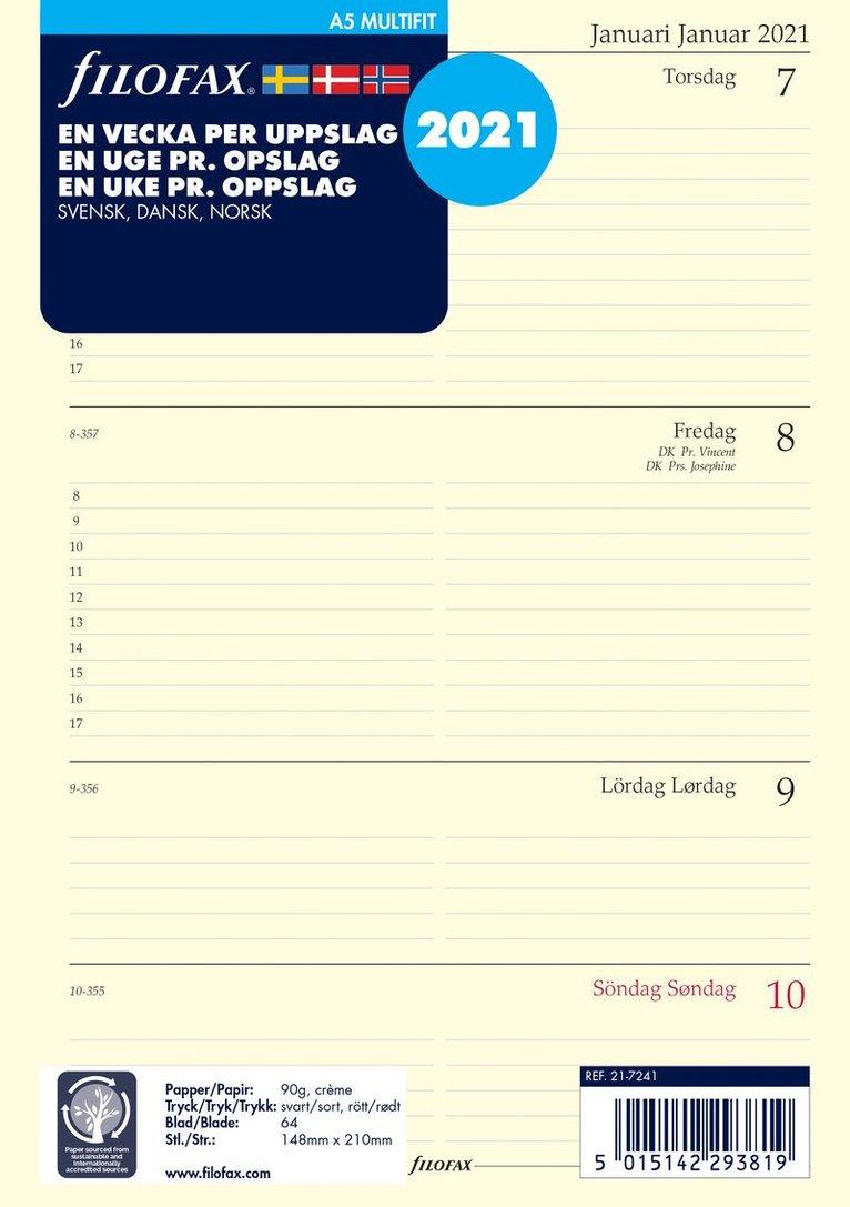 Kalendersats 2021 Filofax A5 Dagbok VpU S/D/N 1