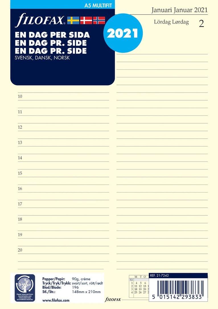 Kalendersats 2021 Filofax A5 Dagbok DpS S/D/N 1