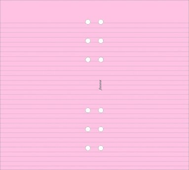 Kalenderdel Filofax Personal anteckningsblad linjerad rosa