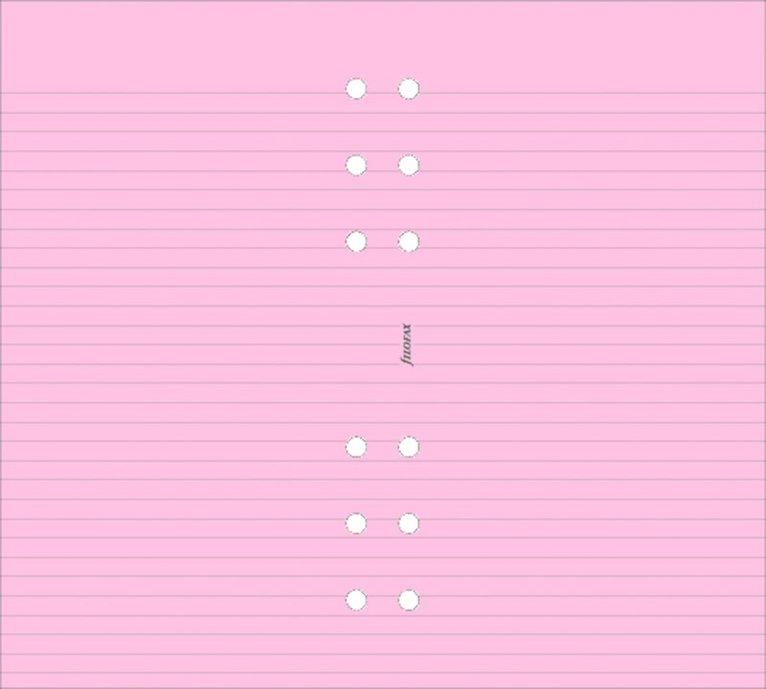 Kalenderdel Filofax Personal anteckningsblad linjerad rosa 1