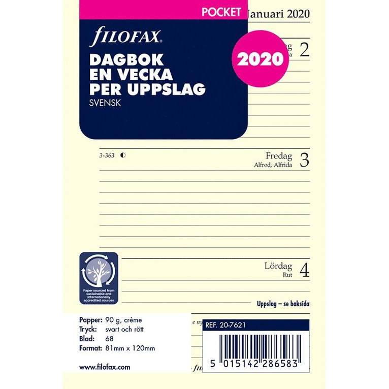 Kalendersats 2022 Dagbok Pocket Vecka/Uppslag SE 1