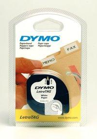 Märkband Dymo LetraTag 12mm papper vit tejp svart text