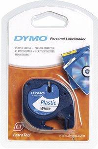 Märkband Dymo LetraTag 12mm plast vit tejp svart text