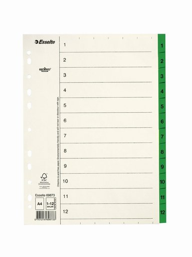 Register A4 papper 1-12 servo