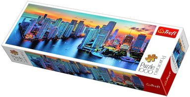 Pussel 1000 bitar Panorama - Miami afterdark