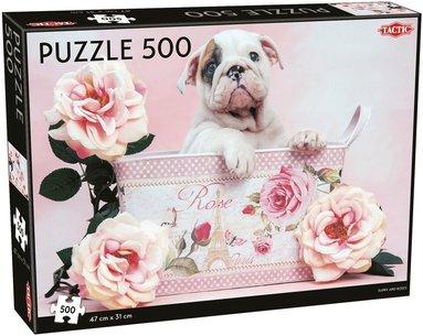 Pussel 500 bitar Valp och rosor