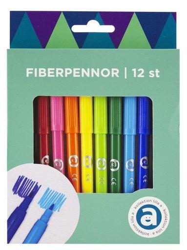 Fiberspetspenna 12 färger