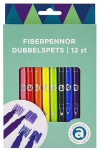 Fiberspetspenna dubbelspets 12 färger