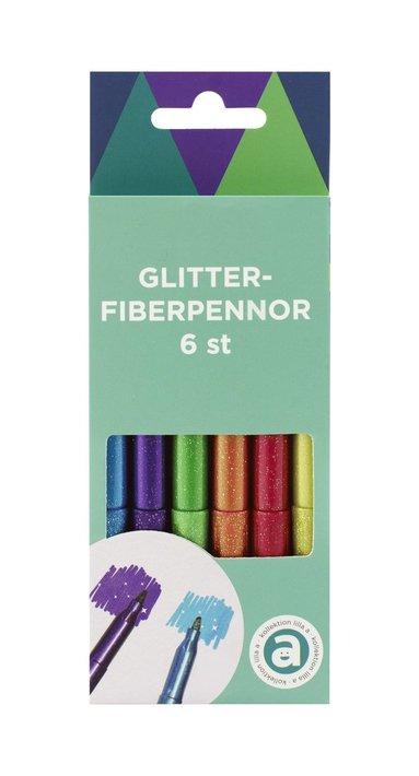 Glitterpenna 6 färger 1