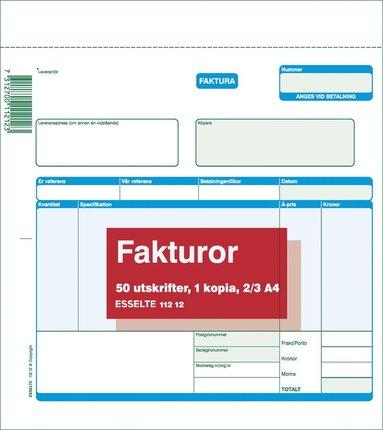 Fakturablock A4 2/3 2x50 blad med kopia