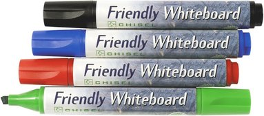 Whiteboardpenna Friendly sned spets 4-pack