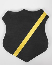 Märkessköld svart med guldfärgat band