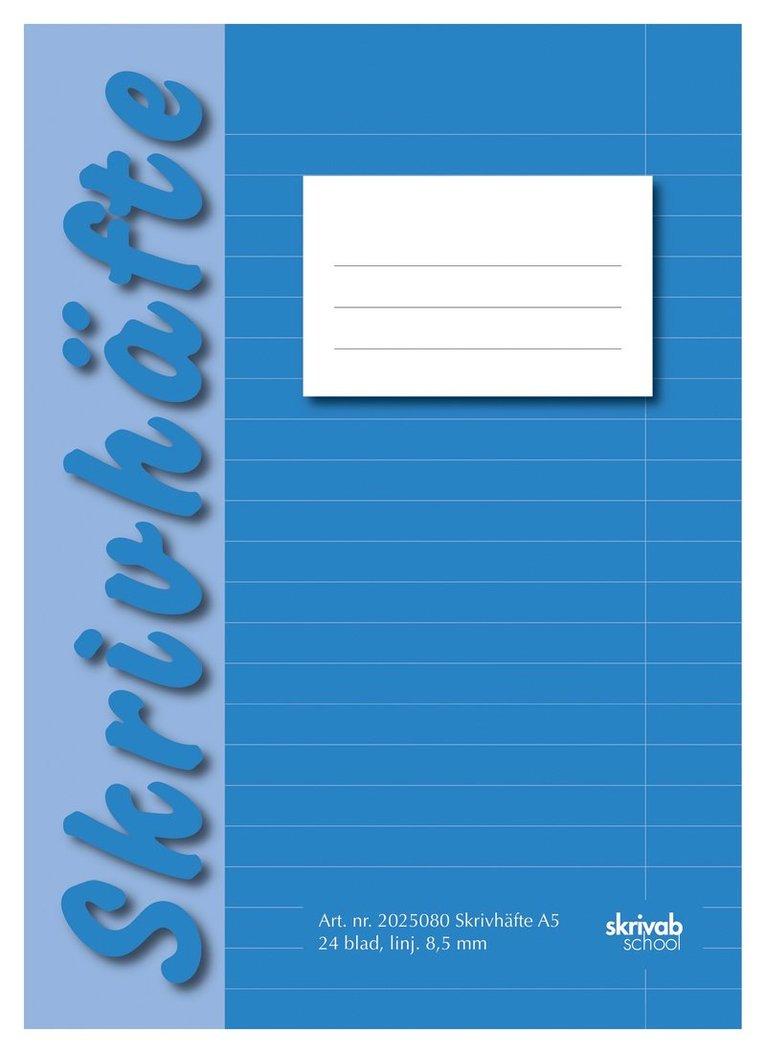 Skrivhäfte A5 linjerad blå 1