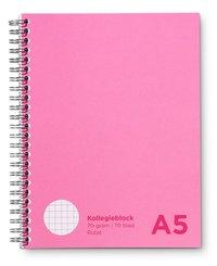 Kollegieblock A5 rutat rosa