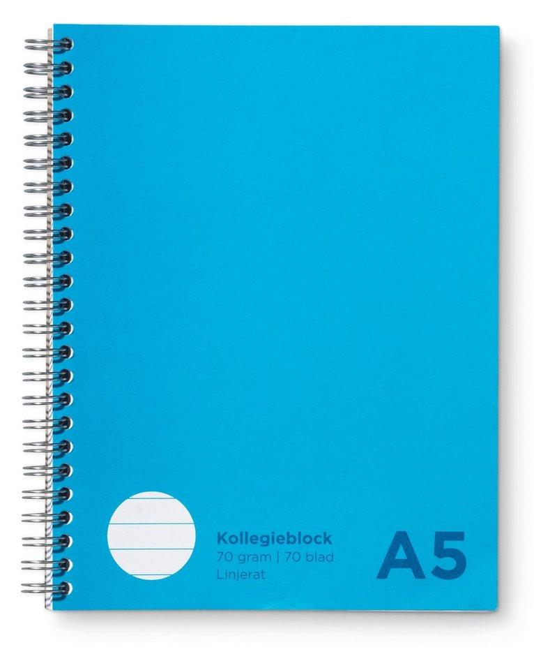 Kollegieblock A5 linjerat blå 1