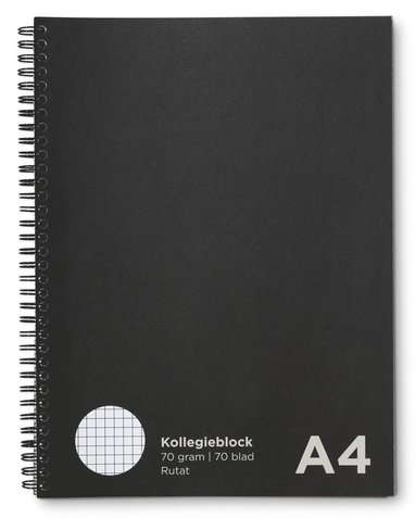 Kollegieblock A4 rutat svart