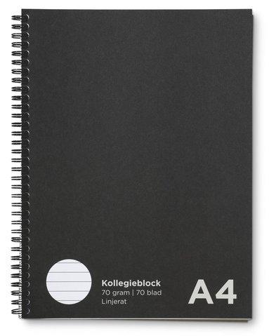 Kollegieblock A4 linjerat svart