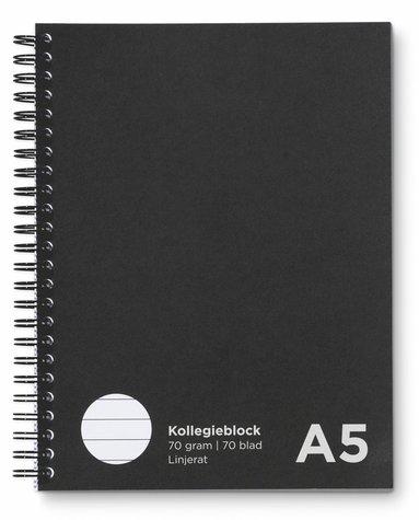 Kollegieblock A5 linjerat svart