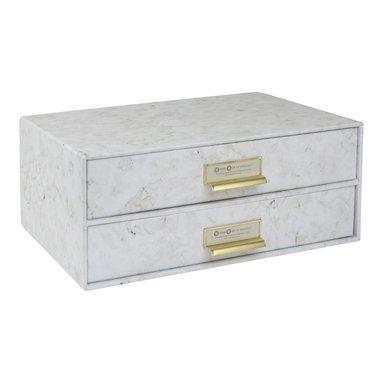Box med 2 lådor Birger marmor 1
