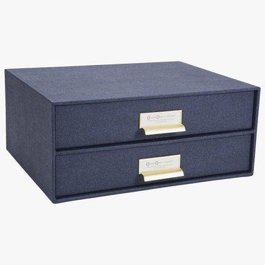 Byrå med 2 lådor Birger mässing/canvas blå 1