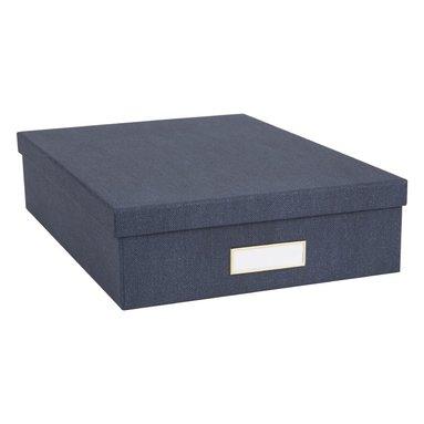 Dokumentbox A4 Oskar mässing/canvas blå 2