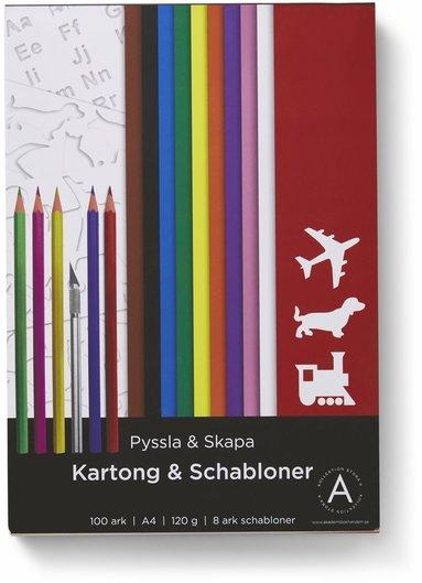 Kartong A4 120 gram 100 ark i olika färger + 8 schabloner