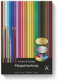 Kartong A4 300 gram 50 ark i 25 olika färger