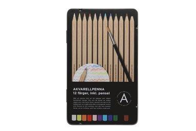 Akvarellpenna 12 färger med pensel 1