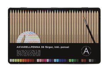 Akvarellpenna 36 färger med pensel 1