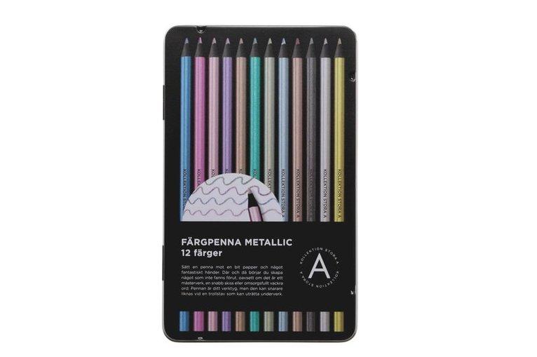 Färgpenna Black Wood 12 metallicfärger 1