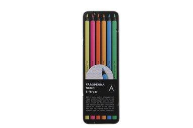 Färgpenna Black Wood 6 neonfärger  1