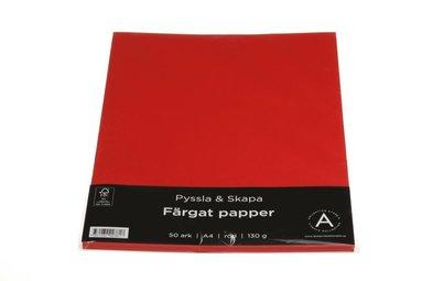 Papper A4 130g 50 ark röd