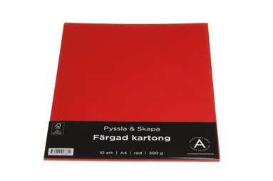 Kartong A4 300g 10 ark röd