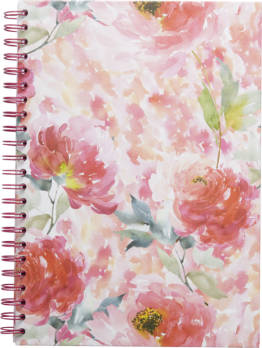 Anteckningsbok A4 linjerad spiral Blomster