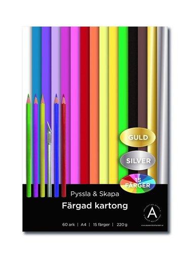 Kartong A4 220gram 60 ark i 15 olika färger