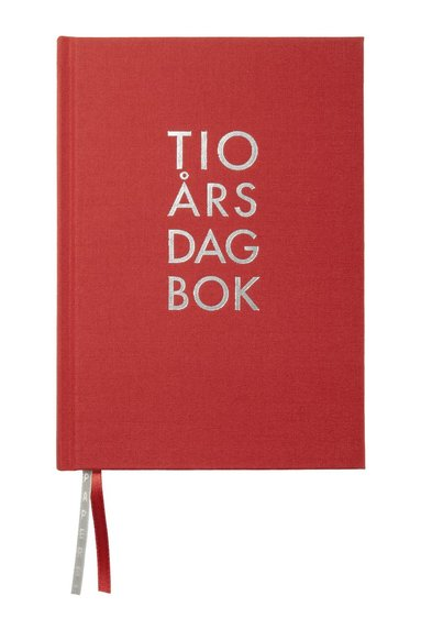 Dagbok 10-års A5 textil röd