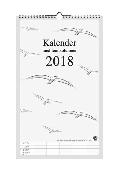 Väggkalender 2018 5 kolumner grafik 1