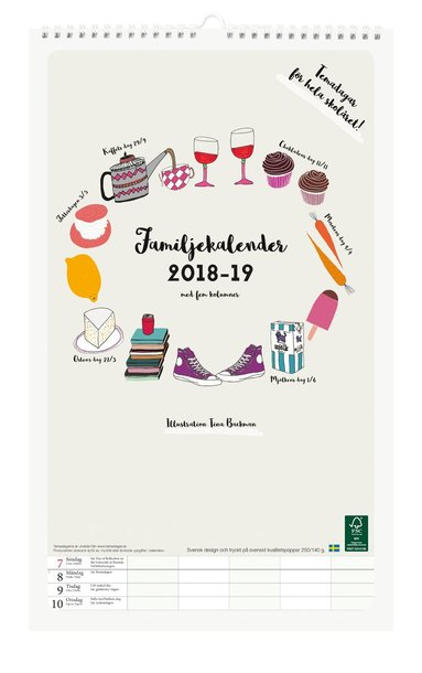 Väggkalender 2018-2019 Familjekalender design Tina Backman